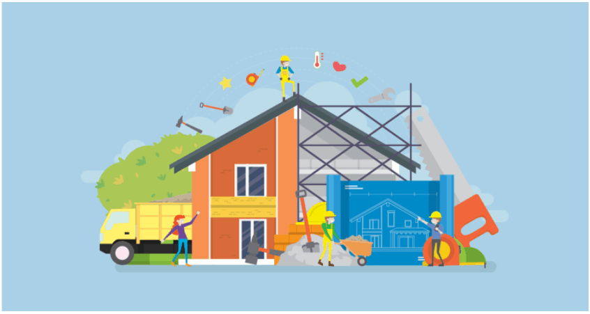 Graphic of a house being constructed