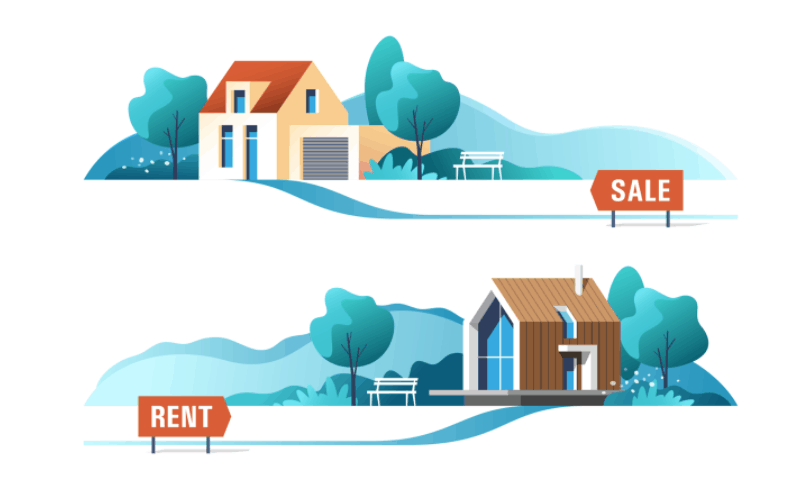Graphic of a house for sale