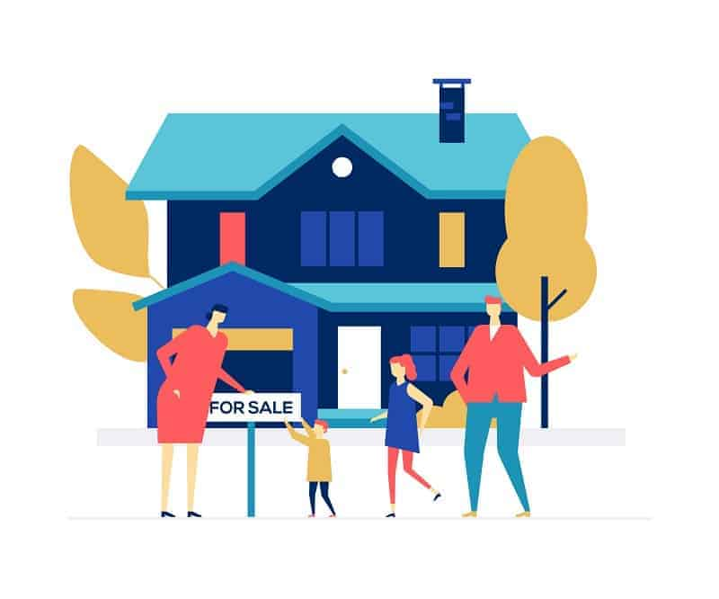 Graphic of a real estate agent and a family