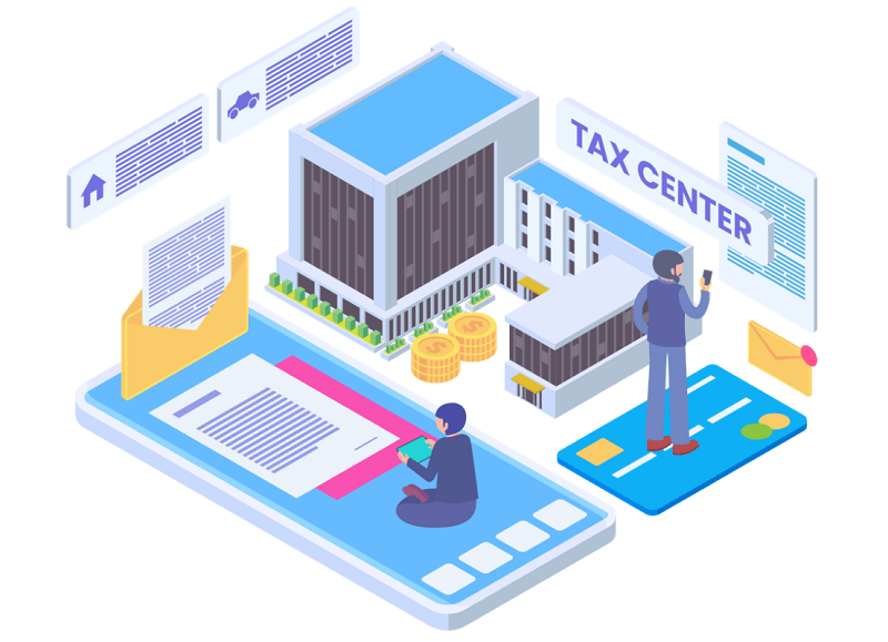 Graphic of tax office
